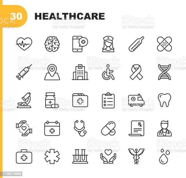 Healthcare Line Icons Editable Stroke Pixel Perfect For Mobile And Web Contains Such Icons As Hospital Doctor Nurse Medical Help Dental - Arte vetorial de stock e mais imagens de ADN