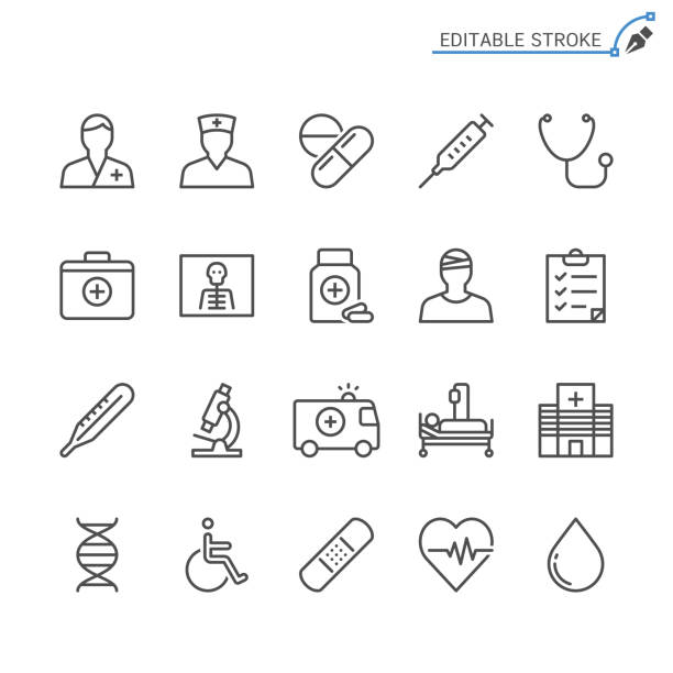 Healthcare line icons. Editable stroke. Pixel perfect. Simple vector line Icons. Editable stroke. Pixel perfect. doctor and patient stock illustrations