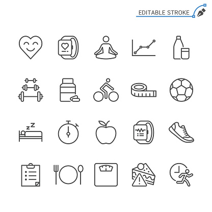 Healthcare line icons. Editable stroke. Pixel perfect. clipart