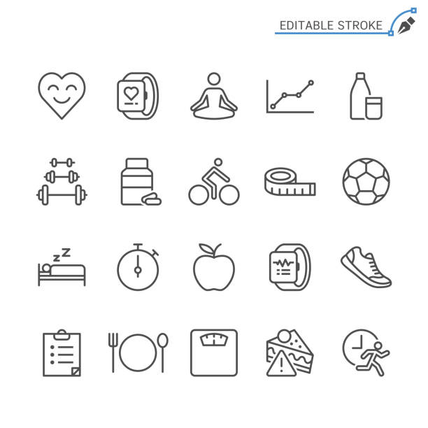 healthcare line icons. editable stroke. pixel perfect. - health stock illustrations