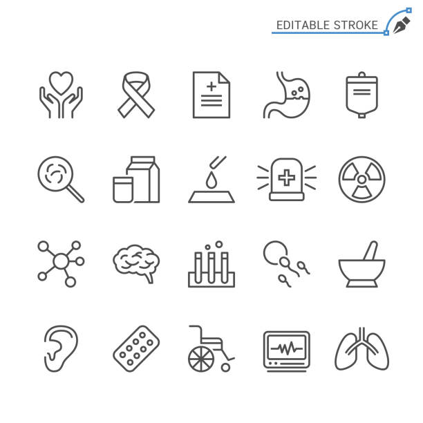healthcare line icons. editable stroke. pixel perfect. - ovarian cancer ribbon stock illustrations