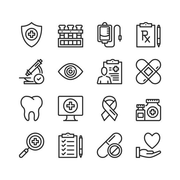 Healthcare line icons. Modern stroke, linear elements. Outline symbols collection. Premium quality. Pixel perfect. Vector thin line icons set vector art illustration