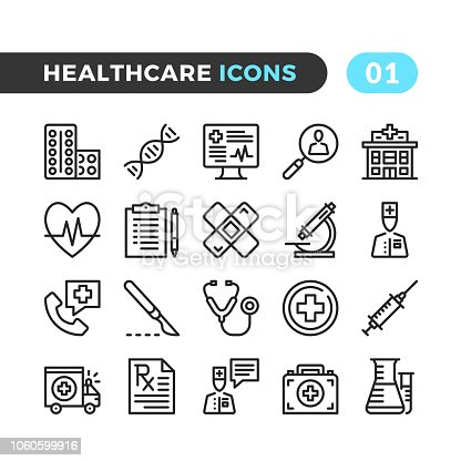 Healthcare line icons. Outline symbols collection. Modern stroke, linear elements. Premium quality. Pixel perfect. Vector thin line icons set