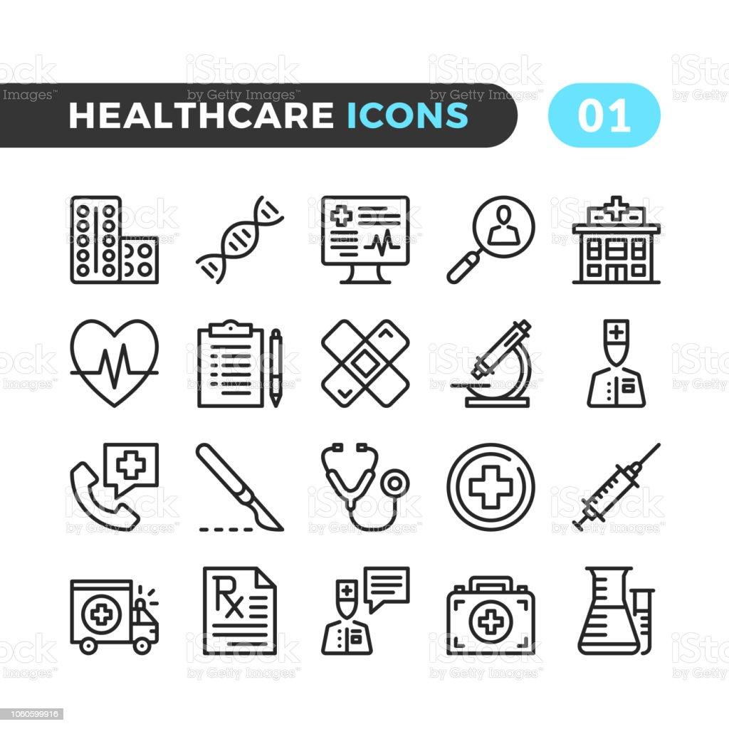 Iconos de la línea profesional de la salud. Colección de símbolos de esquema. Tiempos modernos, elementos lineales. Calidad premium. Pixel perfecto. Conjunto de iconos de delgada línea Vector - ilustración de arte vectorial