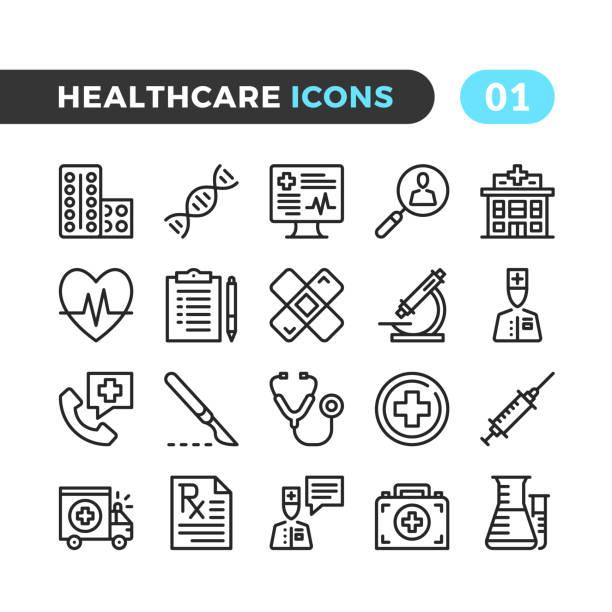 ilustraciones, imágenes clip art, dibujos animados e iconos de stock de iconos de la línea profesional de la salud. colección de símbolos de esquema. tiempos modernos, elementos lineales. calidad premium. pixel perfecto. conjunto de iconos de delgada línea vector - íconos de líneas finas