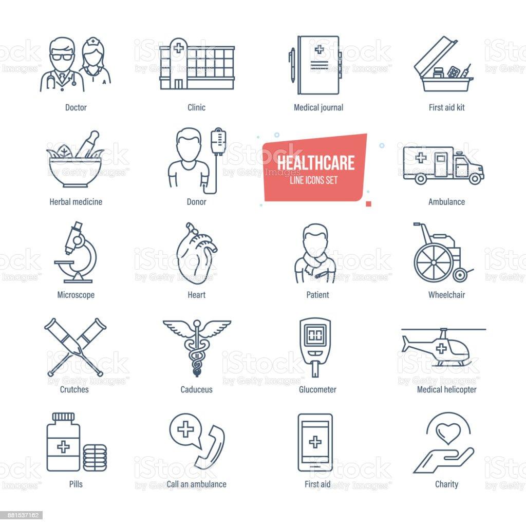 Healthcare Linie Symbole festgelegt. Gesundheitswesen und medizinische Diagnosegeräte – Vektorgrafik