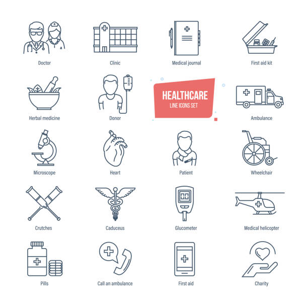 Healthcare line icons set. Healthcare system and medical diagnostic equipment Healthcare thin line icons, pictogram and symbol set. Icons for medical services, ambulance, pharmacology, outpatient treatment. Healthcare system, medical diagnostic equipment. Vector illustration. pharmacist stock illustrations