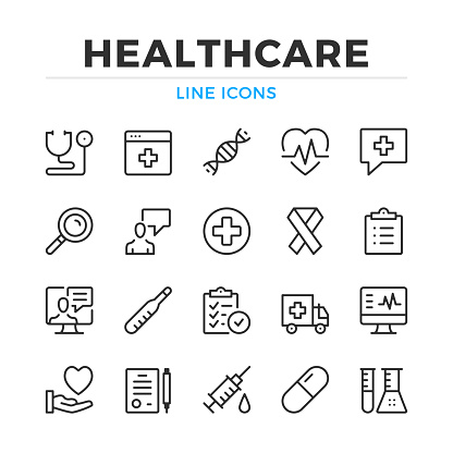 Healthcare line icons set. Modern outline elements, graphic design concepts. Stroke, linear style. Simple symbols collection. Vector line icons clipart