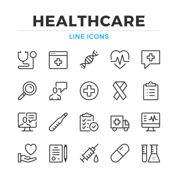 illustrazioni stock, clip art, cartoni animati e icone di tendenza di healthcare line icons set. modern outline elements, graphic design concepts. stroke, linear style. simple symbols collection. vector line icons - farmaco