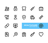 Healthcare line icons set. Pixel Perfect. Modern outline symbols collection. Thin line design. Minimal style. Simple linear stroke graphic design elements. Vector line icons