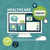Healthcare marketplace computer health services sign up concept. EPS 10 file. Transparency effects used on highlight elements.