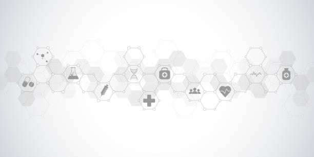 ilustraciones, imágenes clip art, dibujos animados e iconos de stock de salud médica y ciencia fondo con iconos y símbolos - infografías de medicina