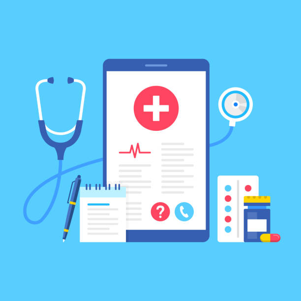Healthcare medical app. Vector illustration. Mobile healthcare concepts. Flat design. Smartphone with medical information on screen, pills, capsule, pen, note pad and stethoscope vector art illustration