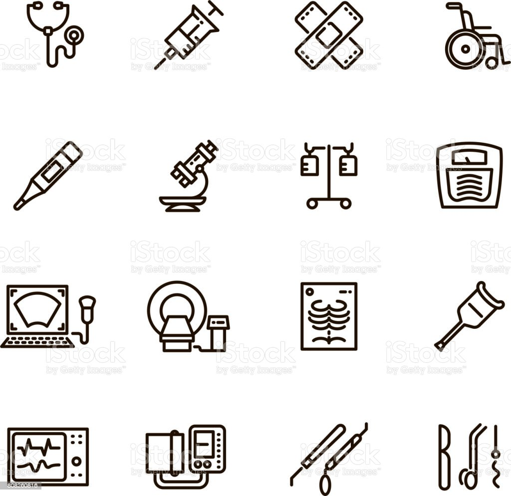 Healthcare medical equipment and hospital line vector icons vector art illustration