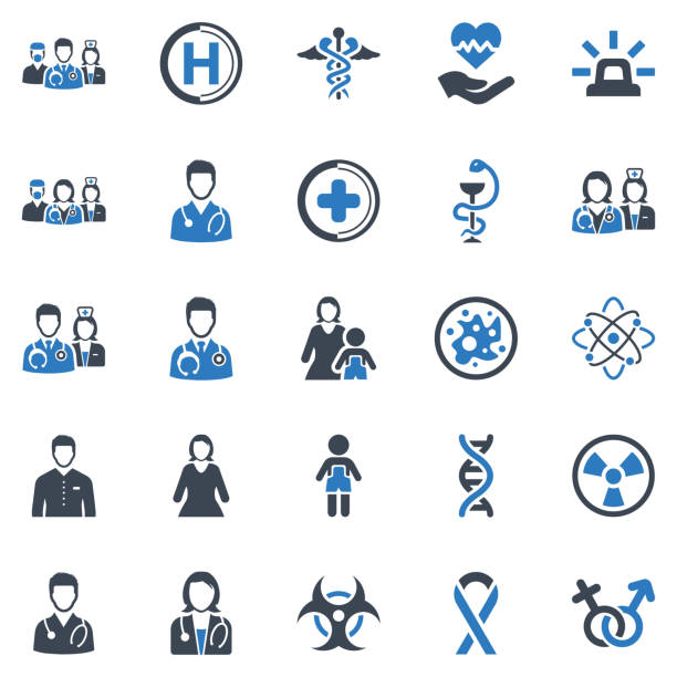 헬스케어 > 의료용 아이콘 세트-3 (블루 시리즈) - doctor stock illustrations