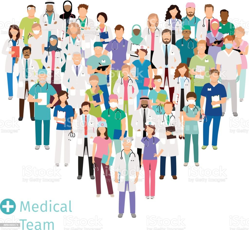 Healthcare medical team in heart shape vector art illustration