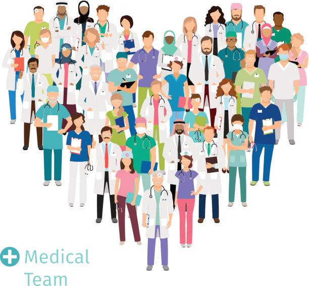 illustrazioni stock, clip art, cartoni animati e icone di tendenza di healthcare medical team in heart shape - personale medico