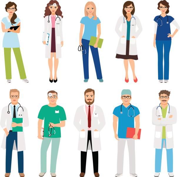 medizinische pflegeteam arbeitnehmer - assistent stock-grafiken, -clipart, -cartoons und -symbole