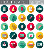 A healthcare and medical themed circular flat design style icon set with a long side shadow. File is cleanly built and easy to edit. Vector file is built in the CMYK color space for optimal printing.
