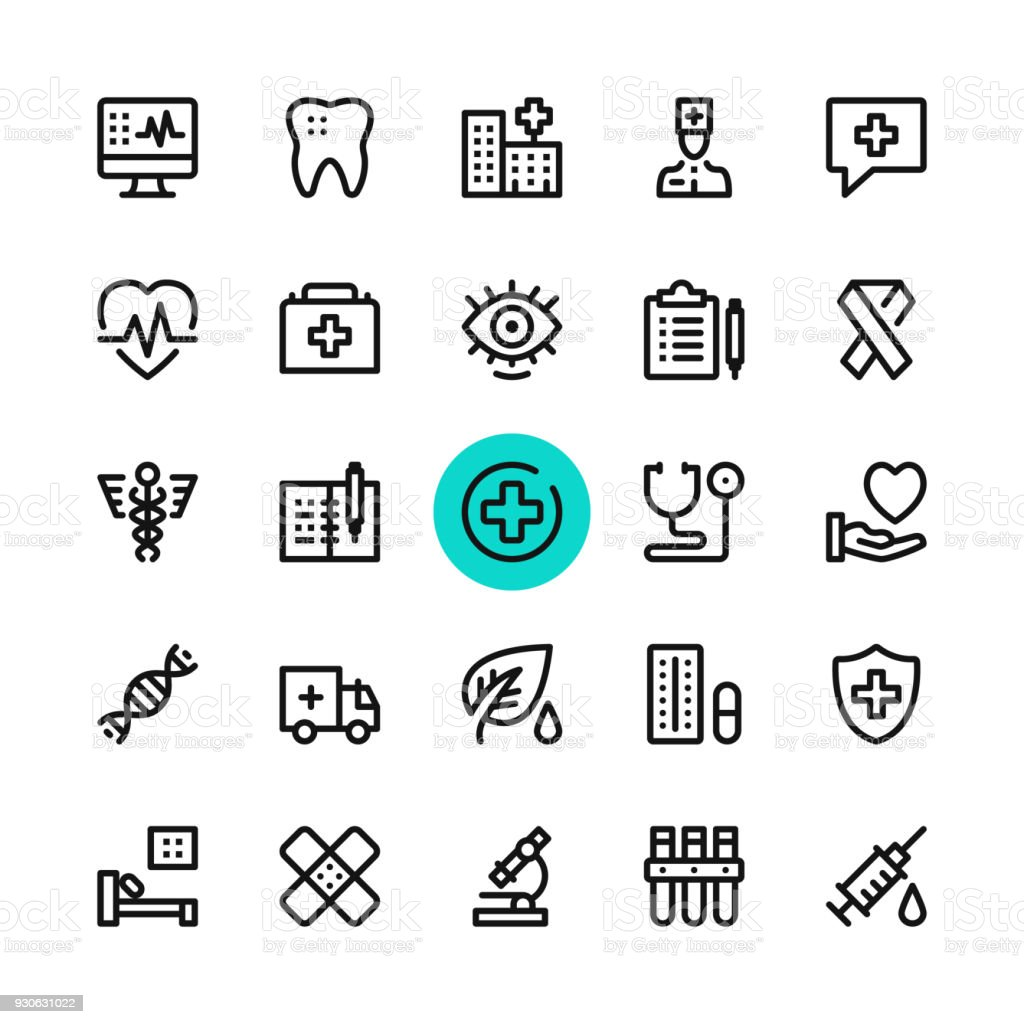 Healthcare, medicine line icons set. Modern graphic design concepts, simple outline elements collection. 32x32 px. Pixel perfect. Vector line icons vector art illustration