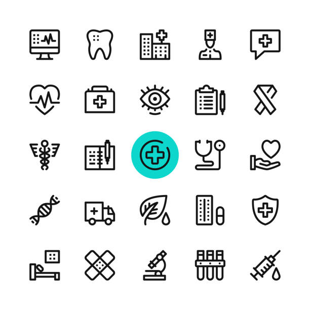 healthcare, medicine line icons set. modern graphic design concepts, simple outline elements collection. 32x32 px. pixel perfect. vector line icons - first aid stock illustrations, clip art, cartoons, & icons