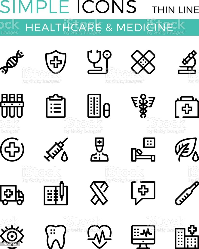 Healthcare, medicine, medical services vector thin line icons set. 32x32 px. Modern line graphic design for websites, web design, etc. Pixel perfect vector outline icons set
