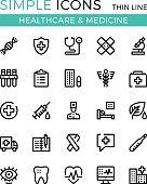 Healthcare, medicine, medical services vector thin line icons set. 32x32 px. Modern line graphic design for websites, web design, etc. Pixel perfect vector outline icons set
