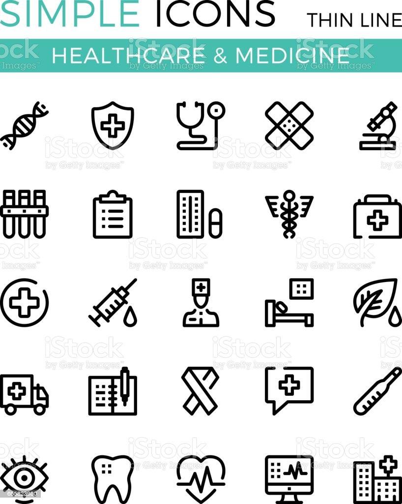 Santé, médecine, services médicaux vecteur ligne mince icônes ensemble. 32 x 32 px. Conception graphique de ligne moderne pour sites Web, conception de sites web, etc.. Pixel parfait vecteur contour icônes définies - Illustration vectorielle