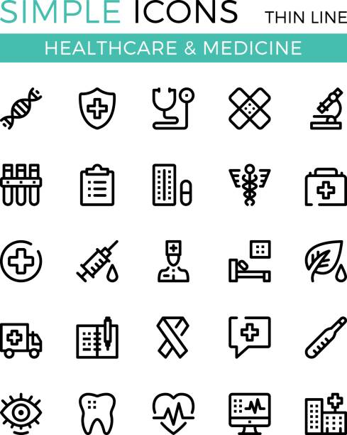 Healthcare, medicine, medical services vector thin line icons set. 32x32 px. Modern line graphic design for websites, web design, etc. Pixel perfect vector outline icons set vector art illustration