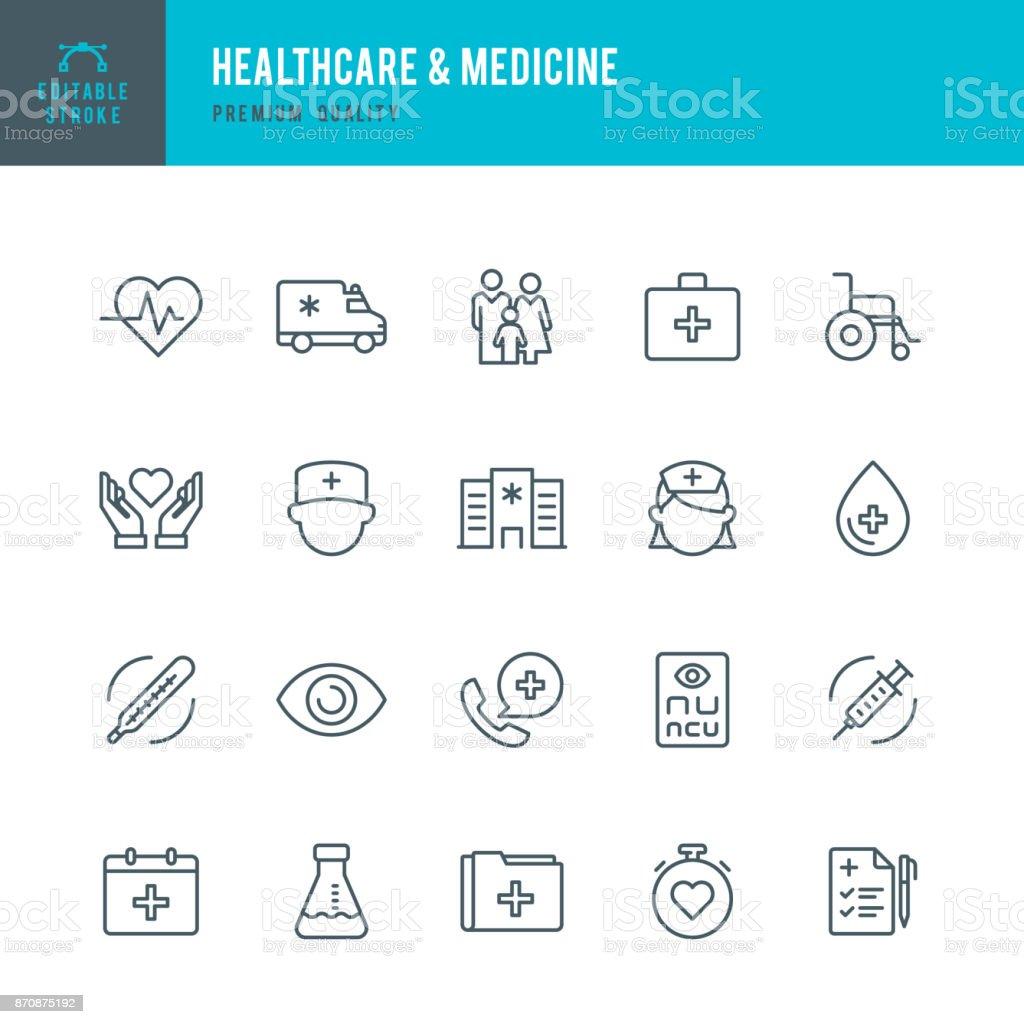 Healthcare & Medicine - set of thin line vector icons