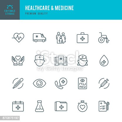 Set of Healthcare & Medicine thin line vector icons.