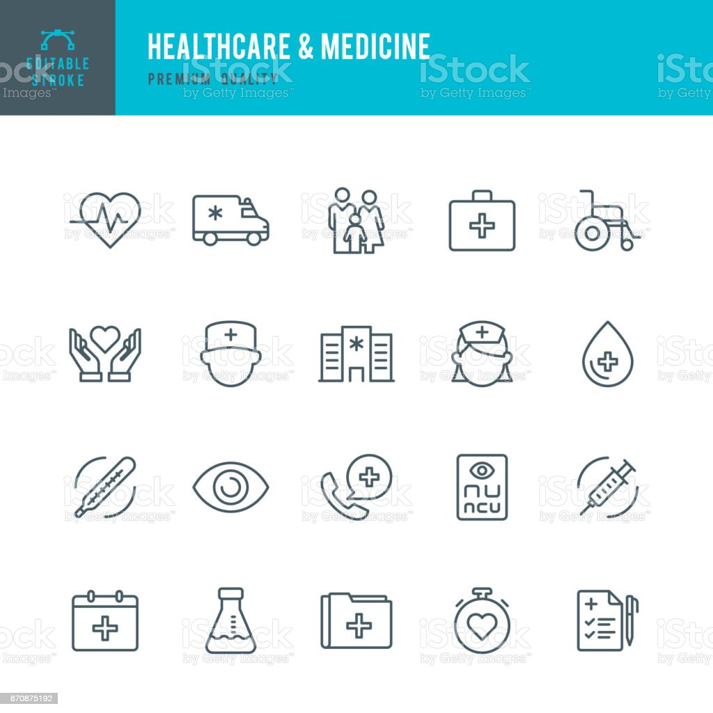 Healthcare & Medicine - set of thin line vector icons vector art illustration