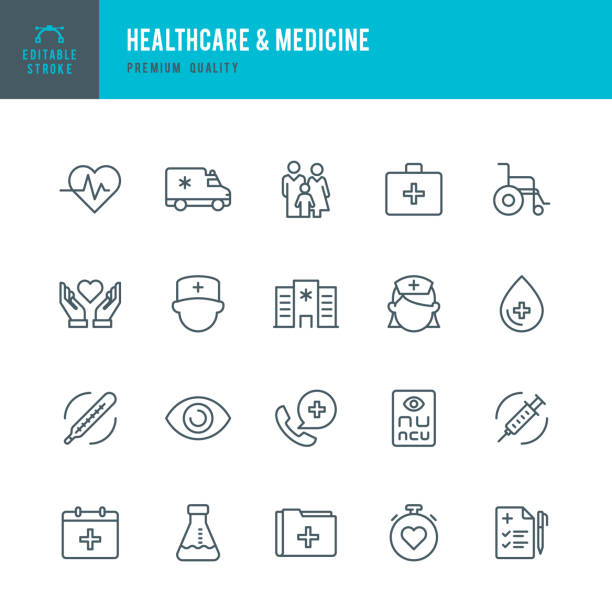 healthcare & medicine - set of thin line vector icons - family stock illustrations, clip art, cartoons, & icons