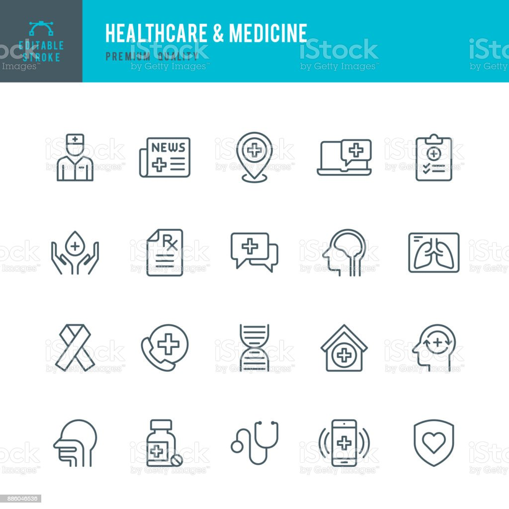 Healthcare & Medicine - set of thin line vector icons