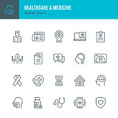 Set of Healthcare & Medicine thin line vector icons.