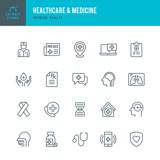 illustrazioni stock, clip art, cartoni animati e icone di tendenza di healthcare & medicine - set of thin line vector icons - prescrizione medica