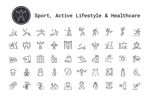 Healthcare, Medicine, Sport, Fitness, Bodybuilding, Yoga, Sport, Gym Equipment Linear Icons Set. Vector Illustration Clip Art Collection Isolated On White Background.