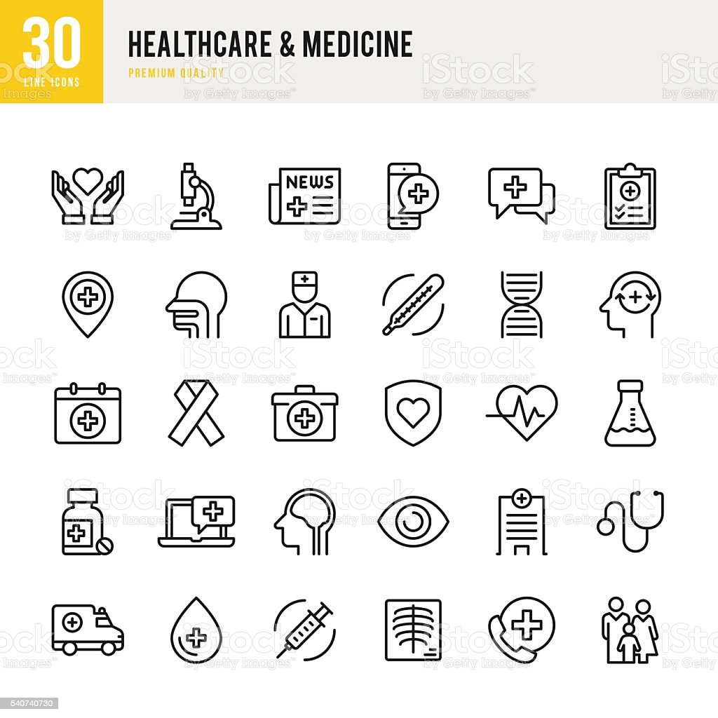 Healthcare & Medicine - Thin Line Icon Set vector art illustration