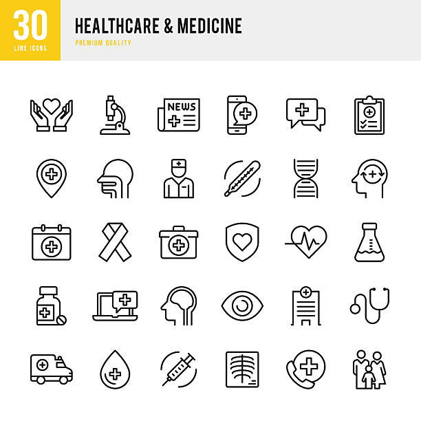 healthcare & medicine - thin line icon set - medicine stock illustrations, clip art, cartoons, & icons