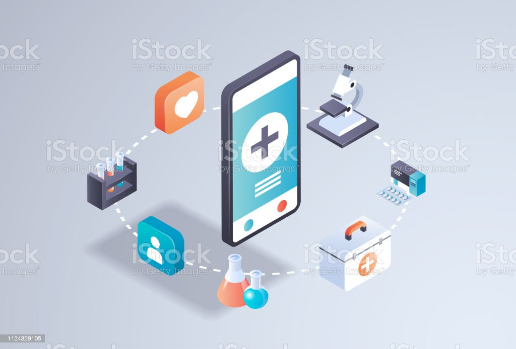 Healthcare Mobile Application Online Medical Laboratory Concept