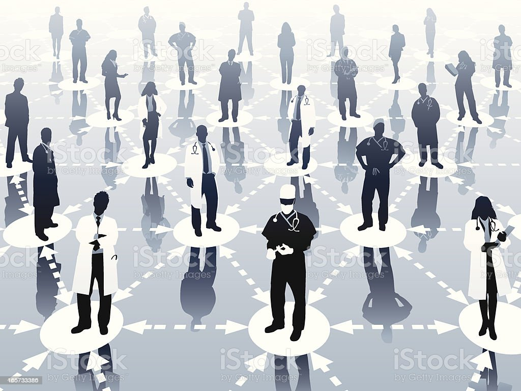 Healthcare Network Healthcare Network with organized group of medical practitioners standing on network.  Image has been organized neatly keeping the designer in mind.   Arrow Symbol stock vector