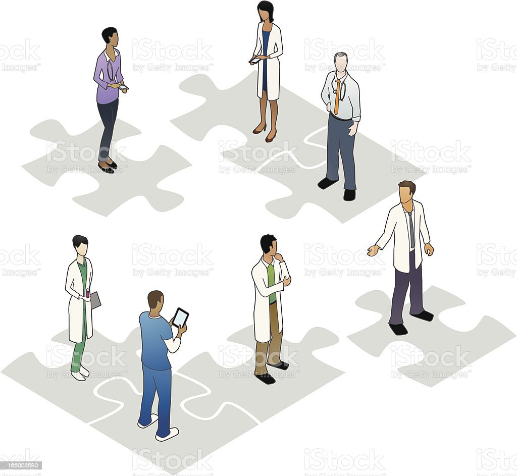 Healthcare People on Puzzle Pieces vector art illustration