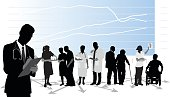 A vector silhouette illustration of medical professionals and patients standing infront of a graph.  A male doctor writes in a clipboard.  In the background a nurse hands out medication to elderly patient, a male and female doctor have a conversation holding charts, an elderly man assists an elderly woman with walking, and another female doctor holds up an xray to a young man in a wheelchair.
