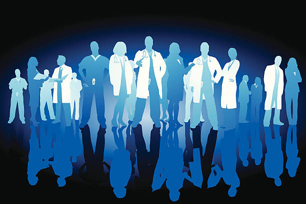 Healthcare professionals Team of healthcare professionals with variety of people with and without white coats, in scrubs, and in dress clothes, and with or without stethoscopes and with reflections on white. male nurse stock illustrations