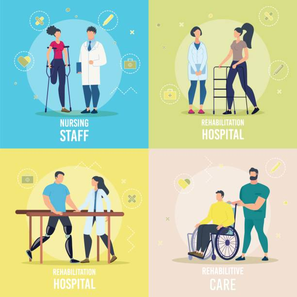 Healthcare Programs for Disabled Vector Concepts Healthcare and Rehabilitation Programs for Disabled People Trendy Flat Vector Square Concepts Set. Doctors, Hospital Personnel Helping Recover to Female, Male Patients with Disabilities Illustration paraplegic stock illustrations
