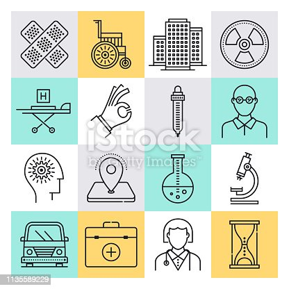 Healthcare provision and medical education outline style concept with symbols. Line vector icon sets for infographics and web designs.