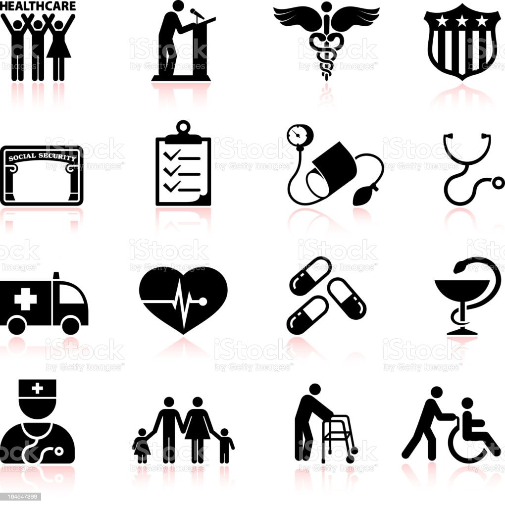 USA healthcare reform black and white vector icon set royalty-free stock vector art