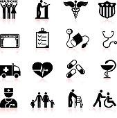 USA healthcare reform black and white vector icon set