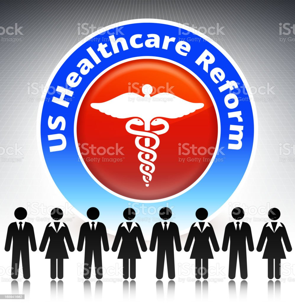Healthcare Reform Concept Stick Figures royalty-free stock vector art