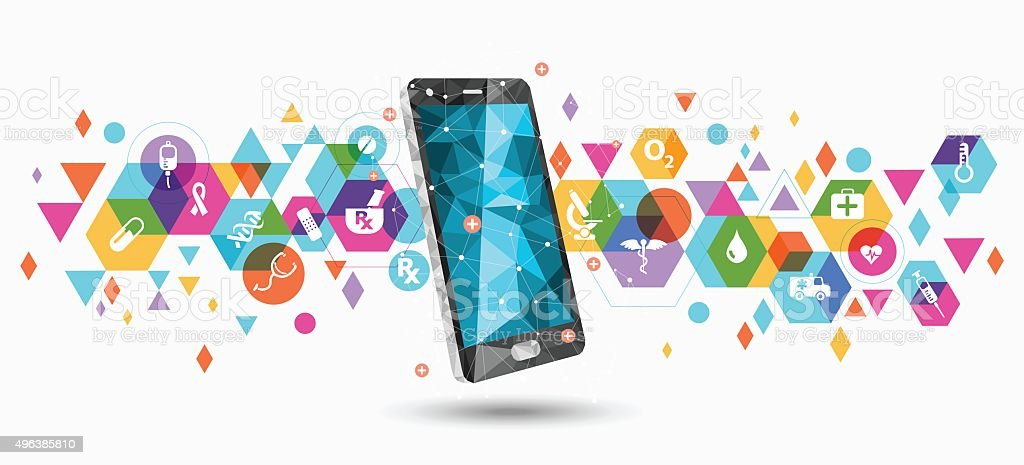 Healthcare service apps on smartphone vector art illustration